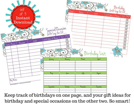 Birthday and Special Occasion Gift Logs – Organize Your New Year